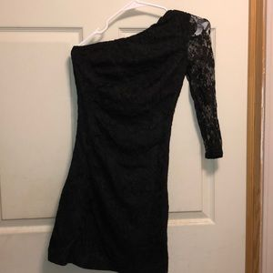 Express Black Lace Mini One Sleeve Dress